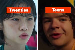 """A Squid Game character is on the left labeled, """"twenties"""" and Dustin from """"Stranger Things"""" labeled, """"Teens"""""""