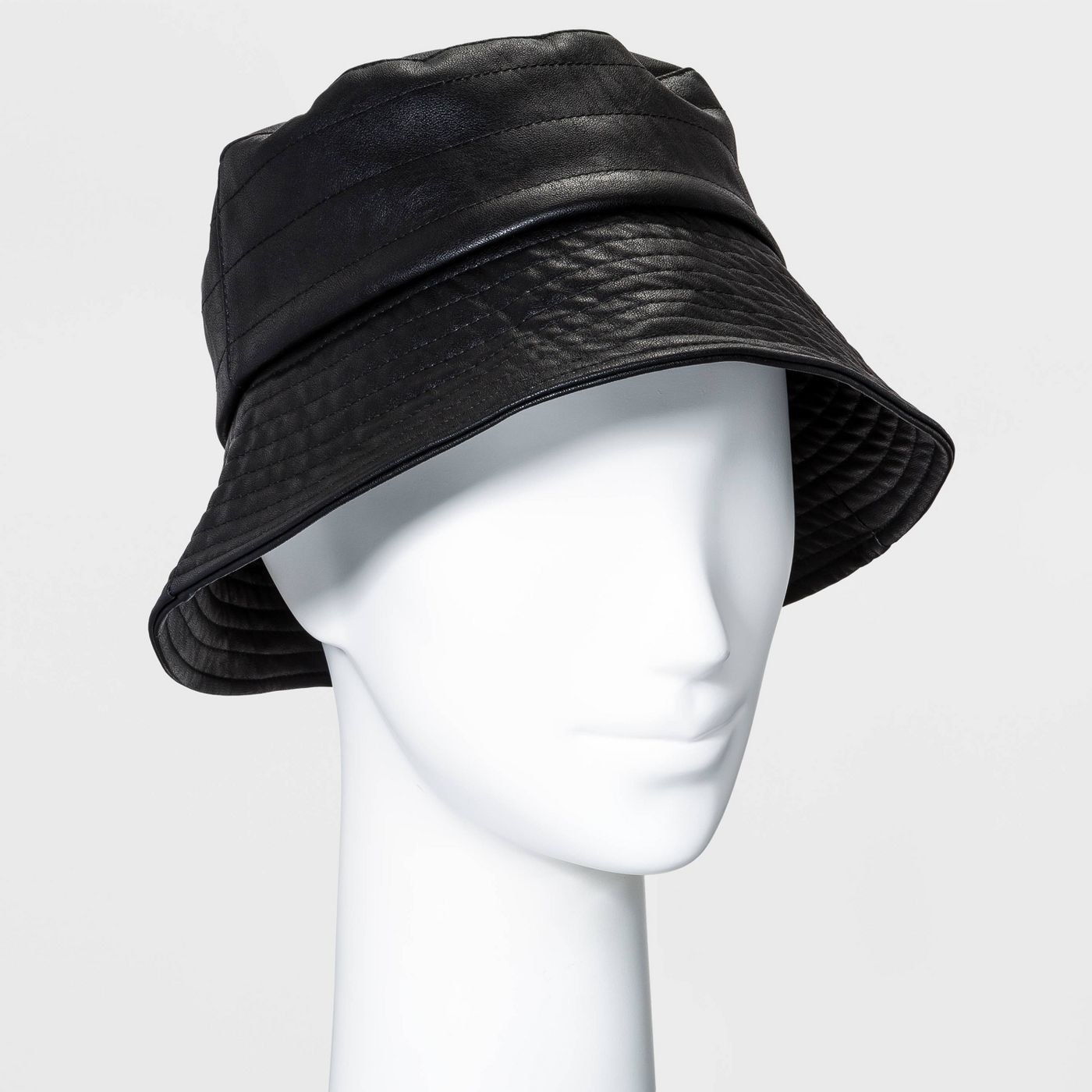 a black leather bucket hat