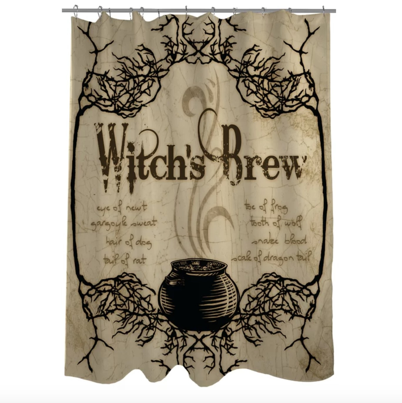 """The tan and brown curtain says """"Witch's Brew"""" has a large cauldron and spindly branches surrounding it"""