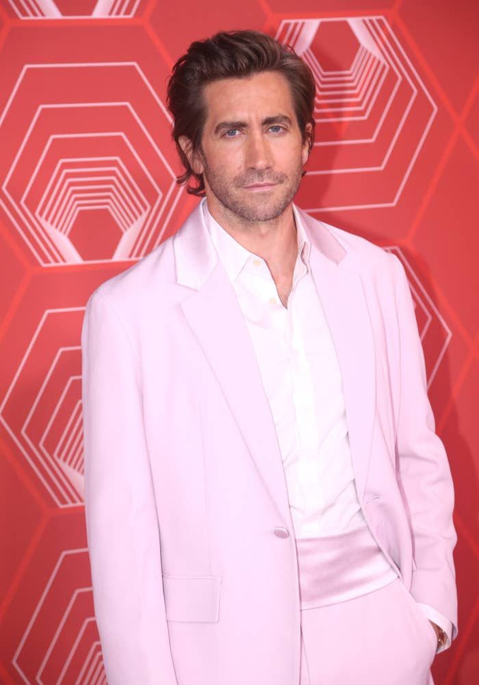 Gyllenhaal poses on the red carpet with his hand in his pocket