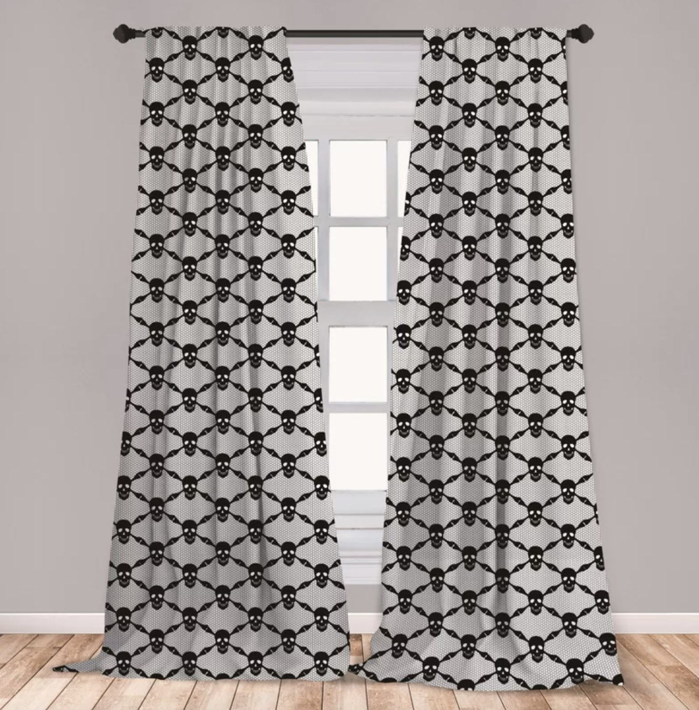 The checkered skull curtains are connected with skeleton bones