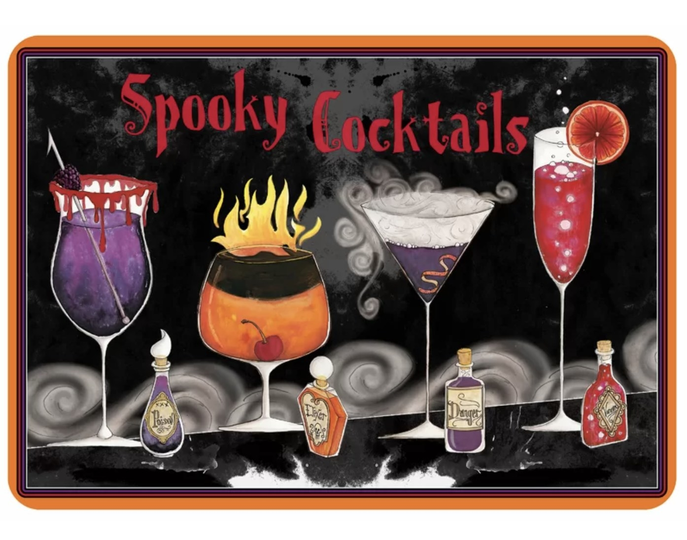 """The mat says """"Spooky Cocktails"""" has four creepy cocktail drinks and four small bottles next to them"""