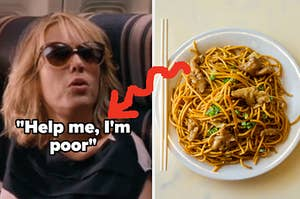 """A close up of Kristen Wiig from the movie """"Bridesmaid"""" and an overhead shot of a bowl of lo mein"""