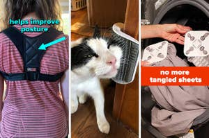 L: reviewer wearing back brace M: cat rubbing its face on a wall-mounted brush R: wad-free tabs on bed sheets to prevent them from tangling in the dryer