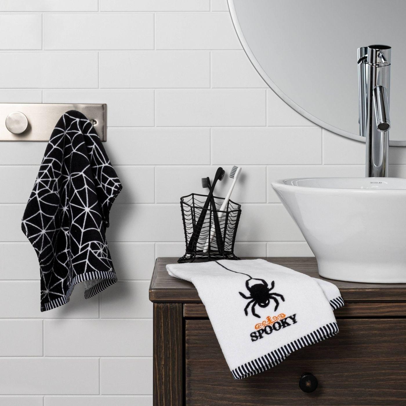 A set of halloween hand towels