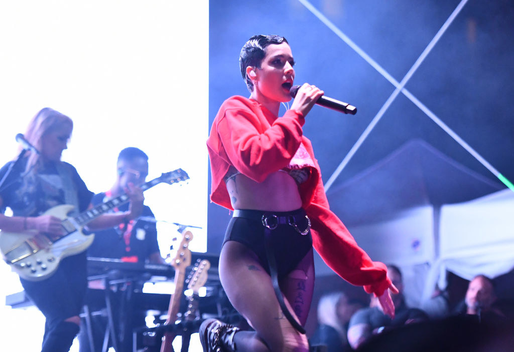 Halsey performing in early 2020