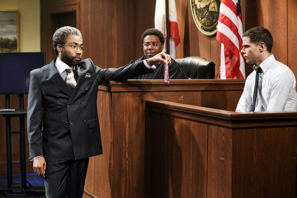 Donald Glover in a court room sketch