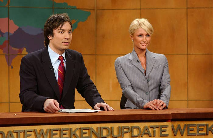 Paris Hilton with Jimmy Fallon on Weekend Update