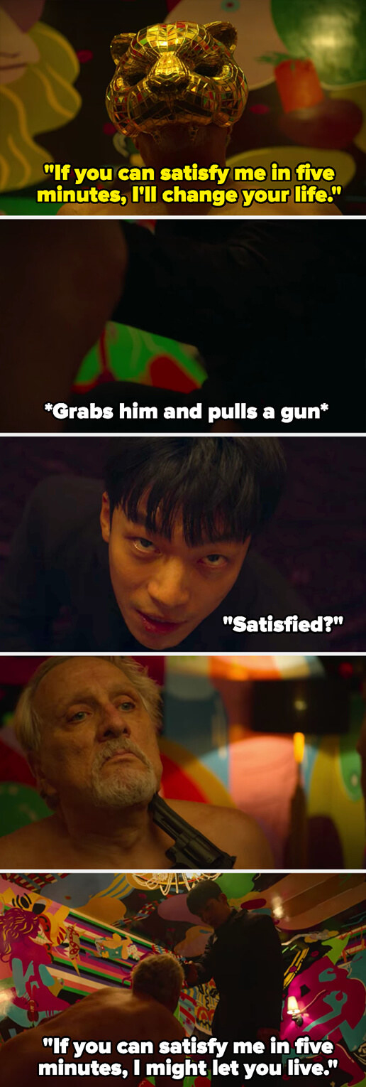 the VIP tells Jun-ho if he can satisfy him in 5 minutes, he'll change his life – Jun-ho points a gun at him and tells him if he can satisfy him in 5 minutes, he might let him live