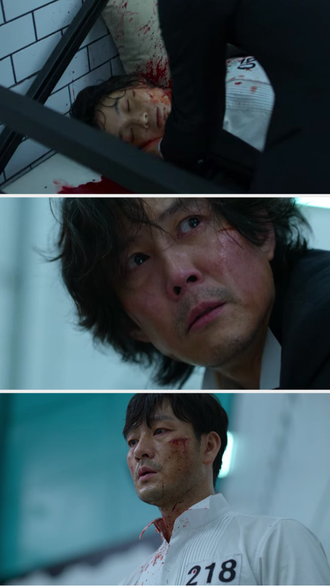 Gi-hun sees Sae-byeok dead and Sang-woo bloody with the knife