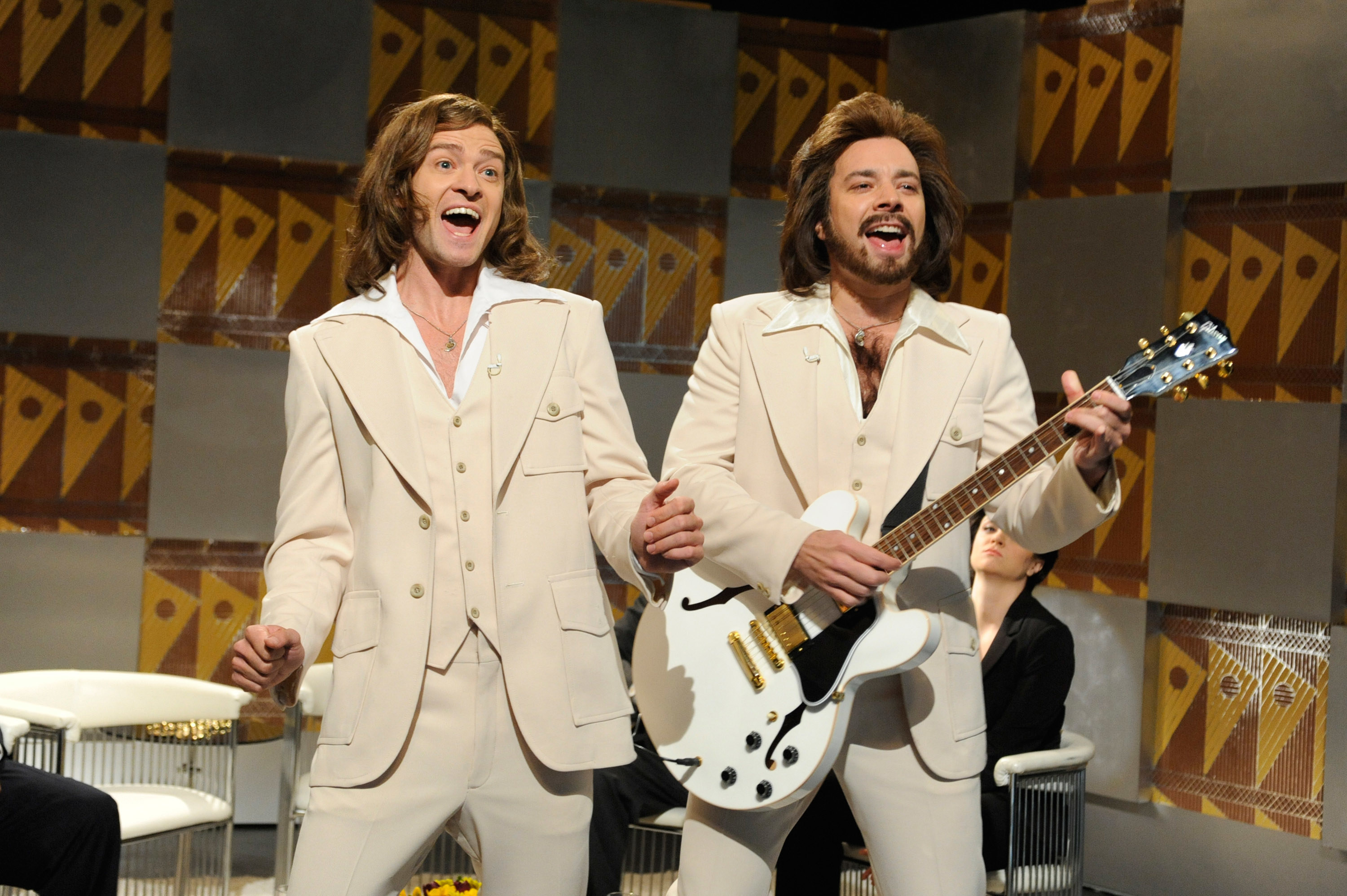 """Justin Timberlake and Jimmy Fallon doing the """"Barry Gibbs Talk Show"""""""