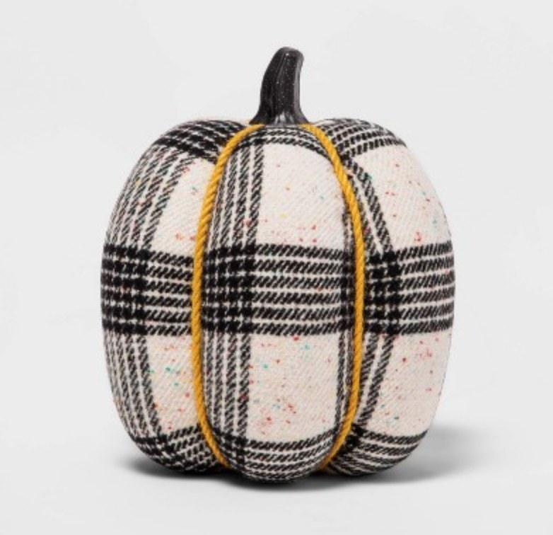 the pumpkin in black and white tweed