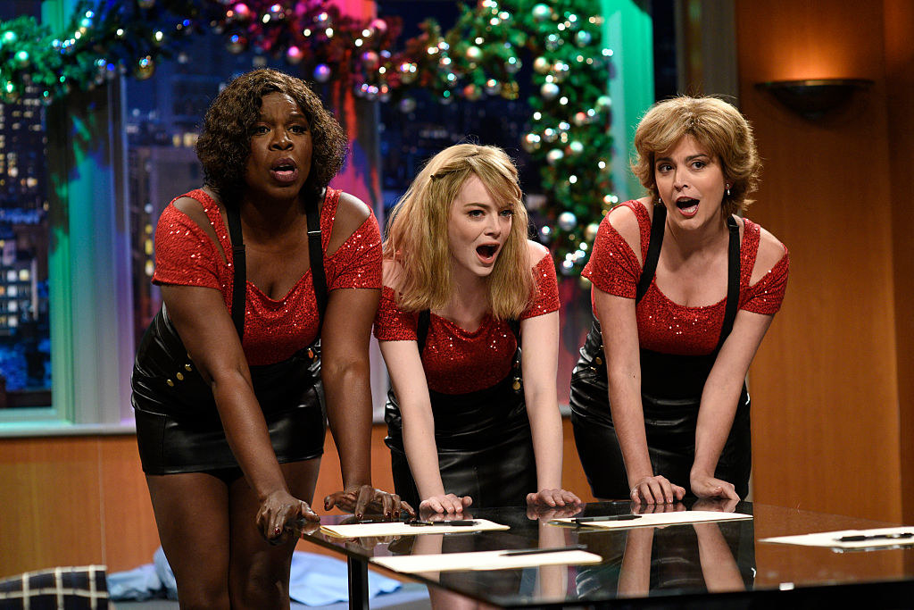 Leslie Jones, Emma Stone, and Cecily Strong in a Christmas sketch