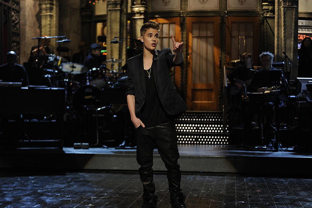 Justin Bieber delivering his SNL monologue