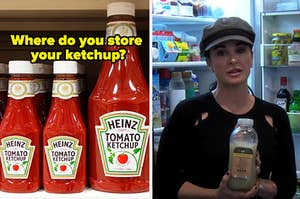 """""""Where do you store your ketchup?"""" is written above ketchup bottles on the right with Kyle Richards in her fridge on the right"""