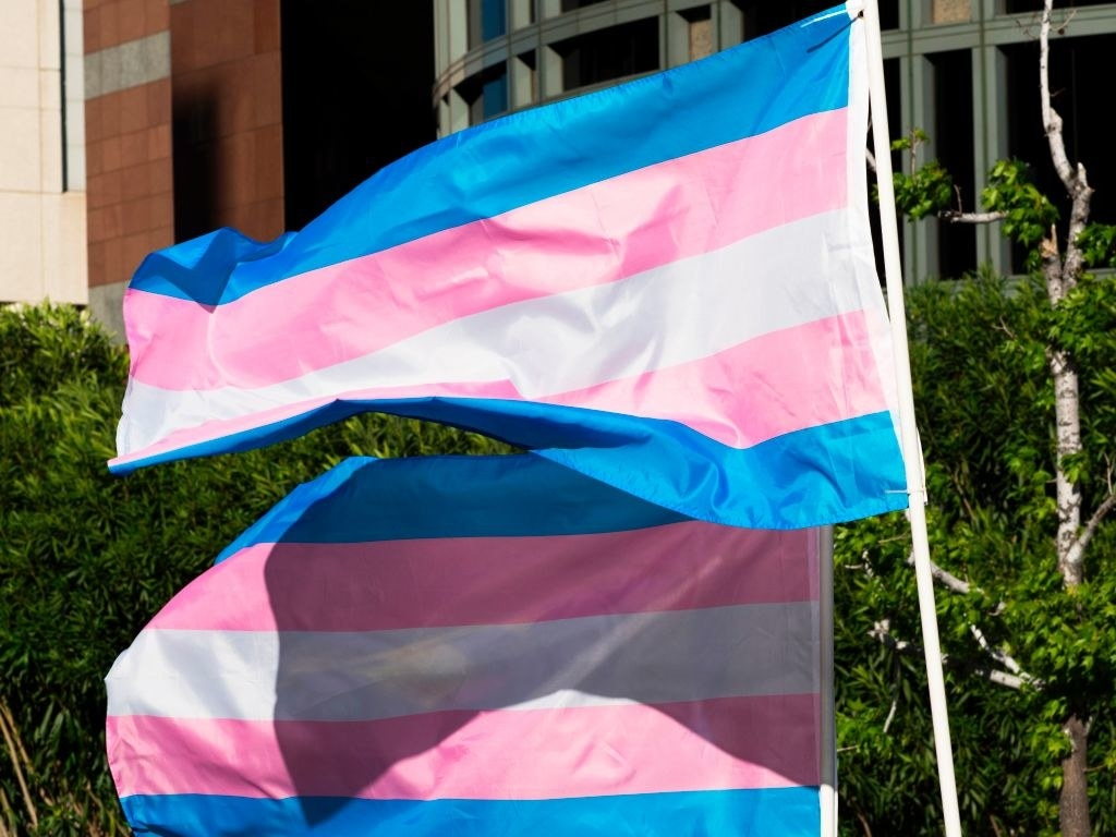Two trans pride flags waving
