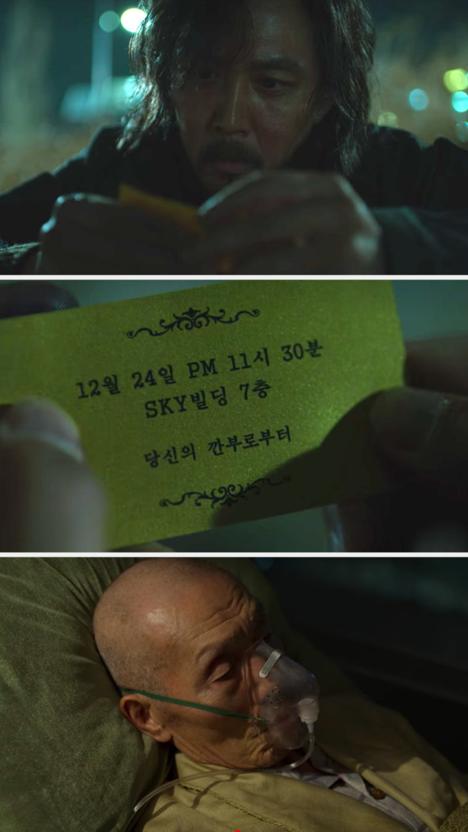 Gi-hun looks at the card from Il-nam then visits him in a gurney