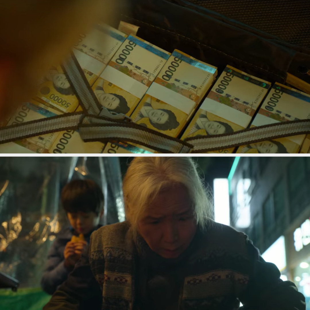 Sang-Woo's mom sees the briefcase of money