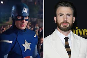 Captain America is in a costume on the left with Chris Evans in a tux on the right