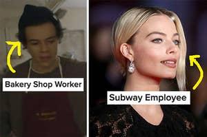 harry styles with bakery shop written under him and margot robbie with subway employee written under her