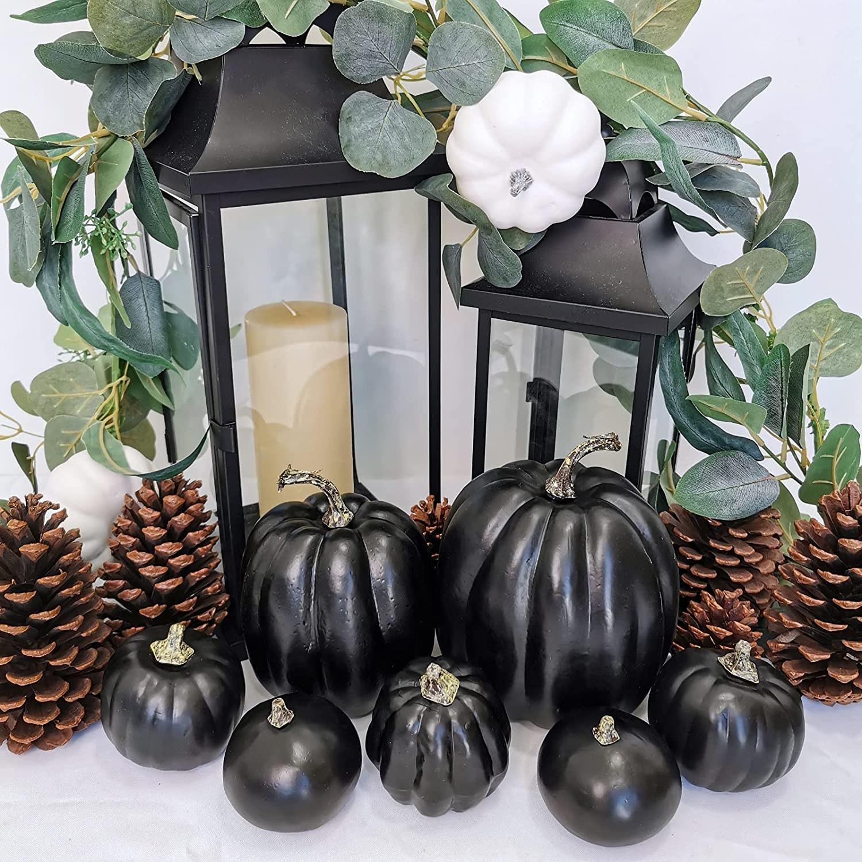 Calabazas artificiales decorativas negras