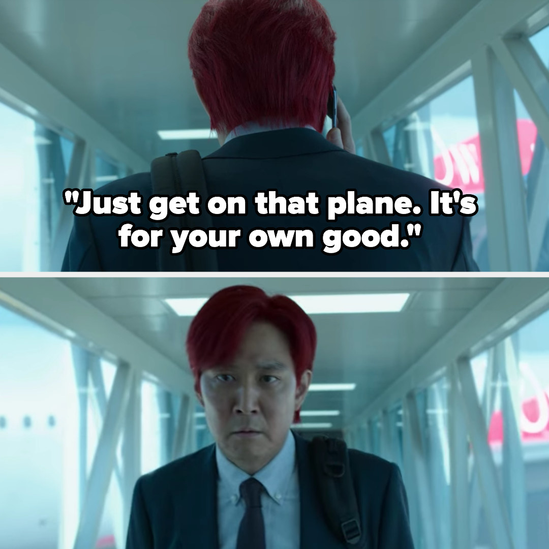 the frontman tells Gi-hun to get on the plane, and Gi-hun turns around and gets off