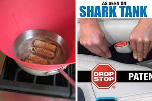 """four things sizzle in frying pan with frywall around it; hands inserting seatbelt cushion w/ caption """"as seen on shark tank"""""""
