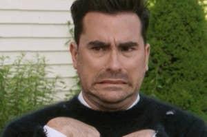 """Dan Levy in """"Schitt's Creek"""" cringes"""