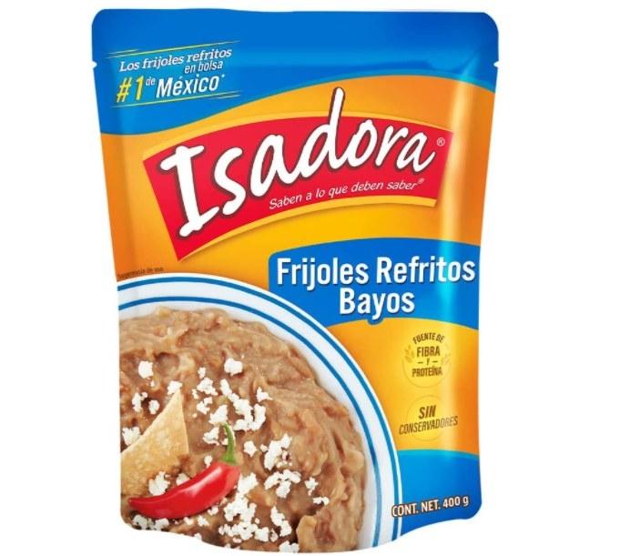 Fotografía de paquete de frijoles refritos marca Isadora