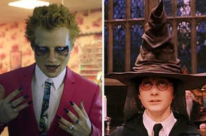 On the left, Ed Sheeran in the Bad Habits music video, and on the right, harry potter wearing the sorting hat