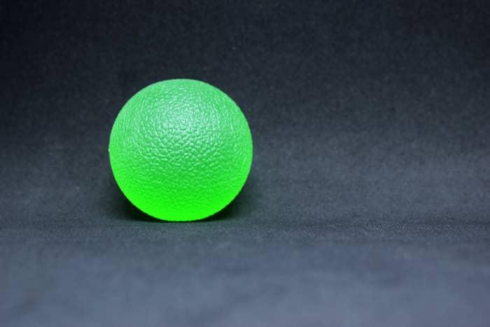 A neon-colored rubber ball