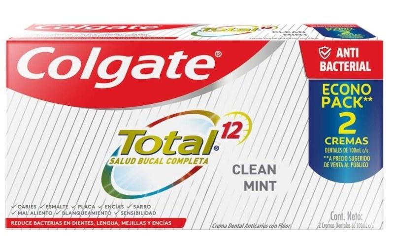 Foto de paquete con dos cremas de pasta dental colgate