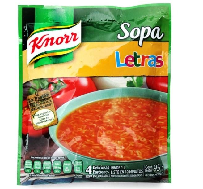 Foto de sopa instantanea de letras de la marca Knorr