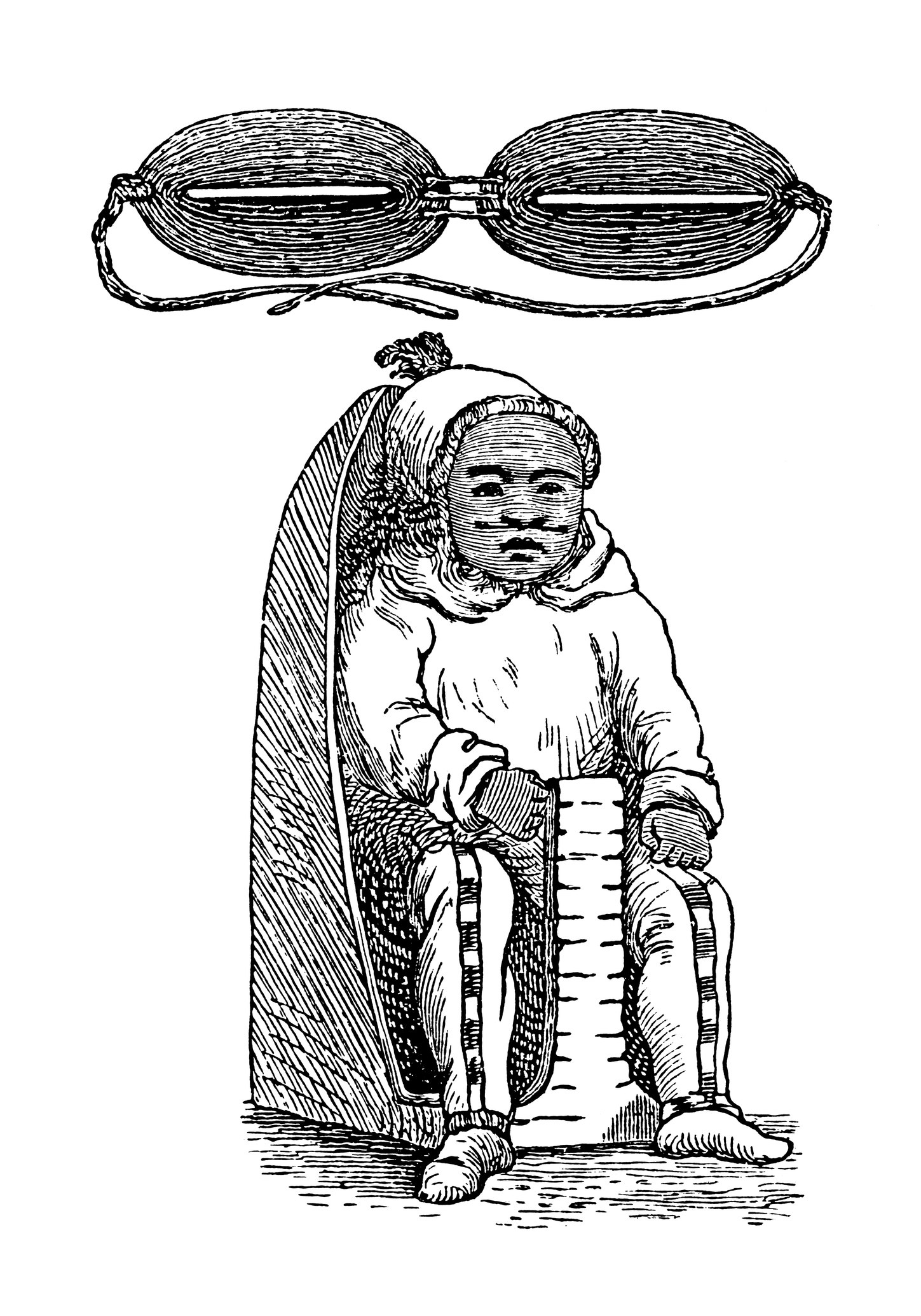 An illustration of snow goggles