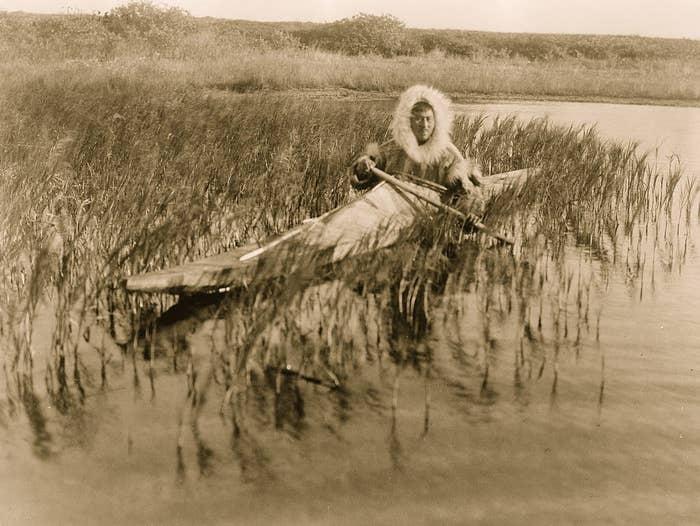 An Inuit kayaking