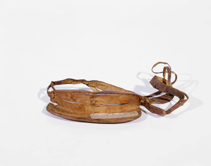 A wooden pair of sunglasses