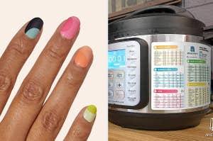 Hands with the nail art stickers, with colorblock swoops / an instant pot chart