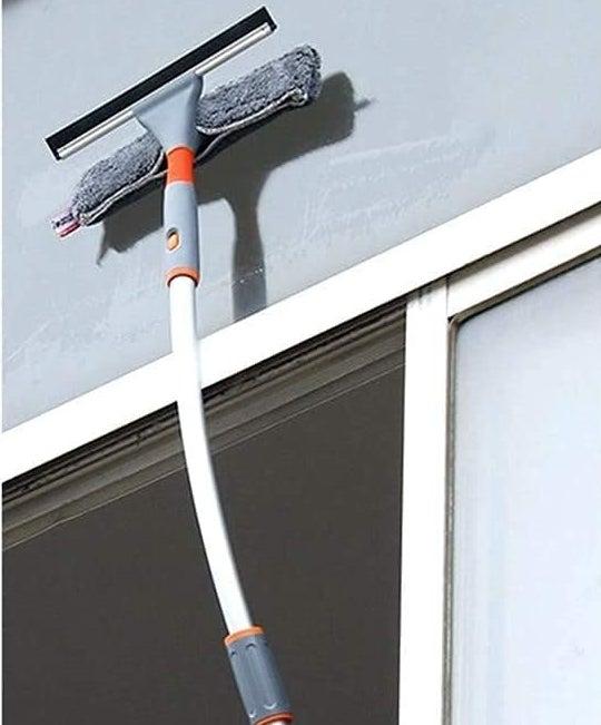 Limpiador de ventanas 2 en 1 con codo y poste de extensión recto