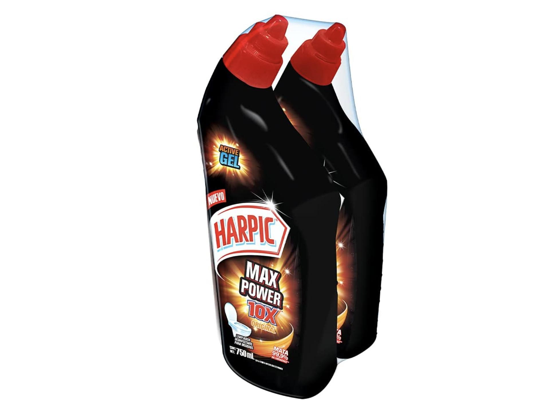 Paquete con dos limpiadores Harpic Max Power