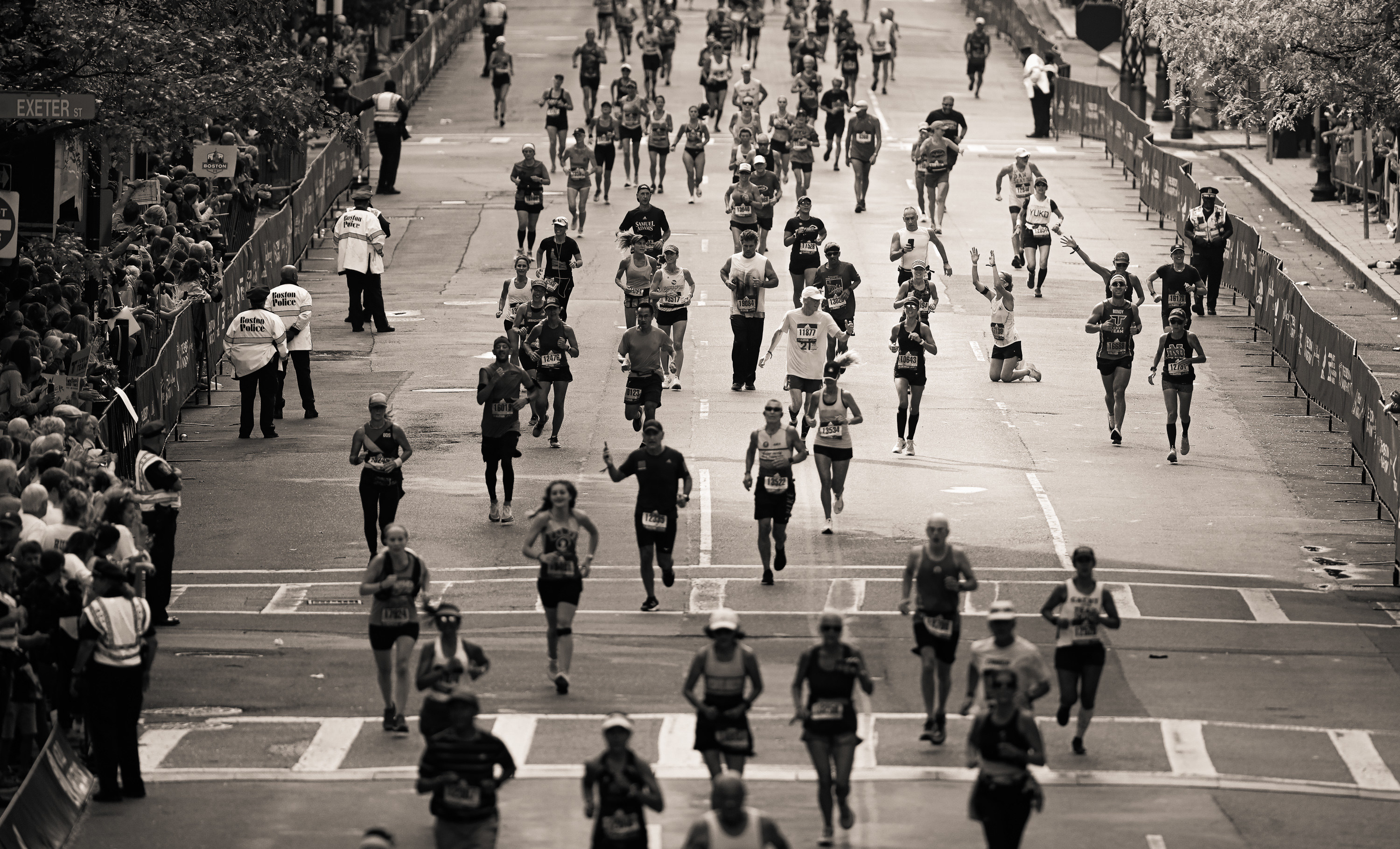 A field of runners at the Boston Marathon
