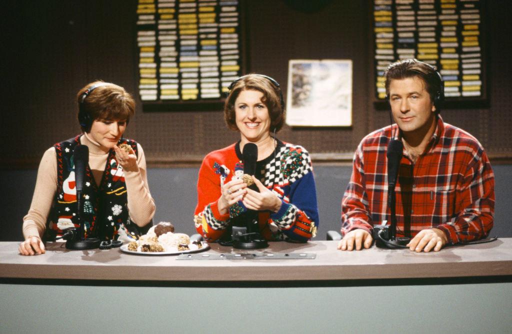 Ana Gasteyer as Margaret Jo McCullin, Alec Baldwin as Pete Schwetty, Molly Shannon as Terry Rialto during 'The Delicious Dish' skit
