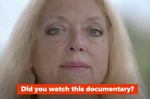 """Carole Baskin is looking straight ahead while labeled, """"Did you watch this documentary?"""""""
