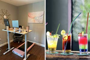 on left, pink walking pad under standing desk. on right, colorful iridescent reusable straws in glasses