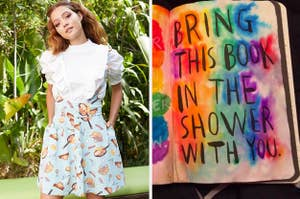 model in howls moving castle overall skirt and colorful wreck this journal page that has been taken into the shower