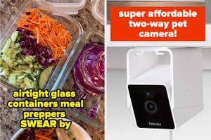meal prep containers and pet camera