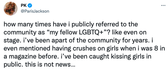 """how many times have i publicly referred to the community as """"my fellow LGBTQ+""""? like even on stage. i've been apart of the community for years. i even mentioned having crushes on girls when i was 8 in a magazine before."""