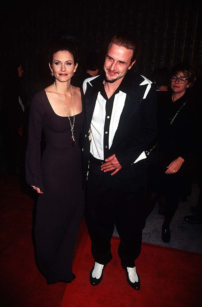 Courteney Cox and David Arquettearriving at the Scream world premiere red carpet