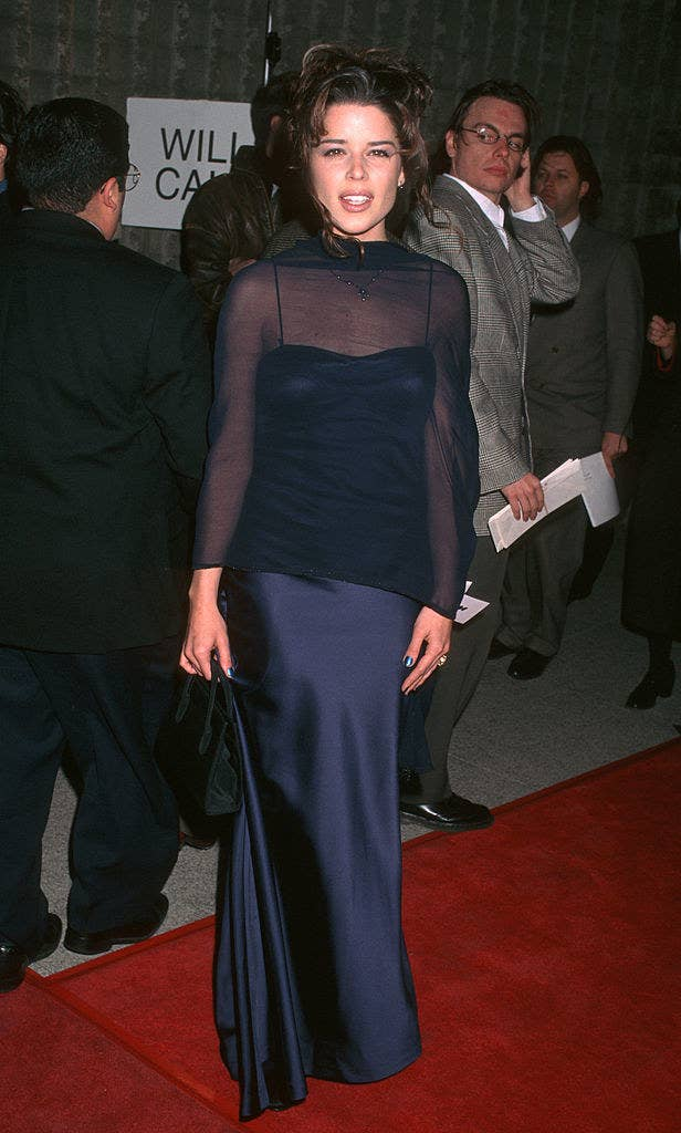 Neve Campbell arriving at the Scream world premiere red carpet