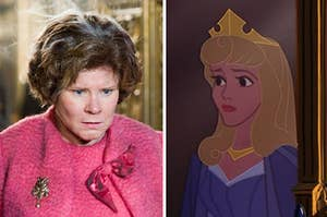 dolores umbridge on the left and aurora on the right