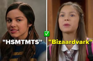 """Olivia Rodrigo is on the left labeled, """"HSMTMTS"""" and on the right labeled, """"Bizaardvark"""""""
